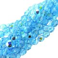 "Fire Polished Faceted 6mm Round Beads 6""str - Aqua AB"