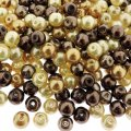 Mixed Luster Glass Pearls Round 6mm - Creamy Caramel Mix 300pcs)