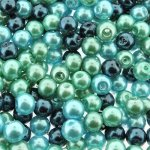 Mixed Luster Glass Pearls Round 6mm - Cyan Seas Mix (300 pcs)