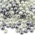 Mixed Luster Glass Pearls Round 6mm - Ghost Grey Mix (300 pcs)