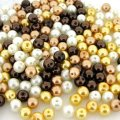 Mixed Luster Glass Pearls Round 6mm - Mocha Latte Mix (200 pcs)