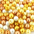Mixed Luster Glass Pearls Round 8mm Caramel Mix. Pack of 100