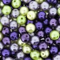 Mixed Luster Glass Pearls Round 8mm Lavender Gdn Mix Pack of 100