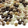 Mixed Luster Glass Pearls Round 8mm Mocha Latte Mix. Pack of 100