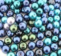 Mixed Luster Glass Pearls Round 8mm Ocean Mix. Pack of 100