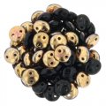 Lentil Beads 2-Hole 6mm - Jet Apollo 50pcs