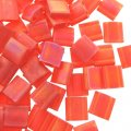 Miyuki Tila Beads 5mm 2-hole Square Matte Trnslcnt Red Orange AB