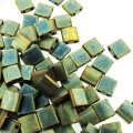 Miyuki Tila Beads 5mm 2-hole Square Matte Metallic Green Iris