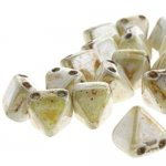 Czech Glass 2-Hole Pyramid Stud Beads 6mm - White Honey Drizzle