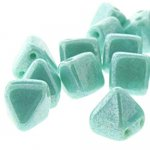Czech Glass 2-Hole Pyramid Stud Beads 6mm - Turquoise Shmmr (25)