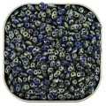 Czech SuperDuo Two-hole Beads 5.5x2.5mm Blue Picasso 24g