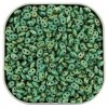 Czech SuperDuo Two-hole Beads 5.5x2.5mm Turquoise Green Picasso