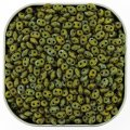 Czech SuperDuo Two-hole Beads 5.5x2.5mm Opaque Green Picasso