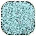Czech SuperDuo Two-Hole Beads 5.5x2.5mm Opal Aqua White LS 24g