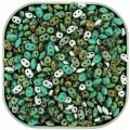 "Czech SuperDuo Two-hole Beads 5.5x2.5mm ""African Turquoise"" Mix"
