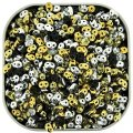"Czech SuperDuo Two-hole Beads 5.5x2.5mm ""Silver & Gold"" Mix 22g"