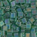 Miyuki Tila Beads 5mm 2-hole Square Matte Translucent Green AB