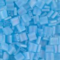 Miyuki Tila Beads 5mm 2-hole Square Matte Translucent Lt Blue AB