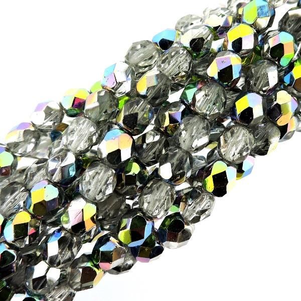 Kralen en sieraden blue Kralen 600 Preciosa Czech Glass Fire Polished Round Beads 4mm Light Sapphire AB