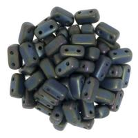 Brick Beads 2-Hole 3 x 6mm 50pcs - Matte Iris Green