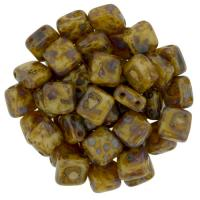 Tile Beads 6mm Square 2-Hole - Picasso Opaque Lt Beige (25)