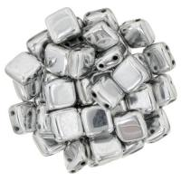 Tile Beads 6mm Square 2-Hole - Silver (25)