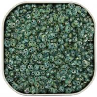 Czech SuperDuo Two-hole Beads 5.5x2.5mm Aqua Picasso 22.5GM