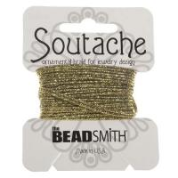 Beadsmith Soutache Braided Cord / Trim 3mm Black/Gold 3 Yards