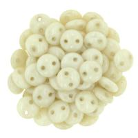 Lentil Beads 2-Hole 6mm - Opaque Luster Champagne 50pcs