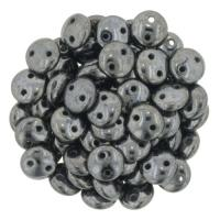 Lentil Beads 2-Hole 6mm - Hematite 50pcs