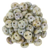 Lentil Beads 2-Hole 6mm - Luster Opaque Green 50pcs
