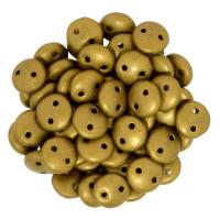 Lentil Beads 2-Hole 6mm - Matte Metallic Goldenrod 50pcs