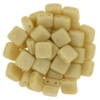 Tile Beads 6mm Square 2-Hole - Opaque Light Beige(25)