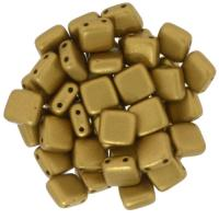 Tile Beads 6mm Square 2-Hole - Matte Metallic Goldenrod (25)