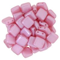 Tile Beads 6mm Square 2-Hole - Pearl Coat Pink (25)