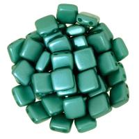 Tile Beads 6mm Square 2-Hole - Pearl Coat Dark Green (25)