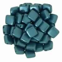 Tile Beads 6mm Square 2-Hole - Pearl Coat Dark Turquiose (25)