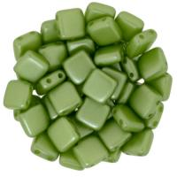 Tile Beads 6mm Square 2-Hole - Pearl Coat Olive Green (25)