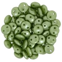 Lentil Beads 2-Hole 6mm - Pearl Coat Olivine 50pcs