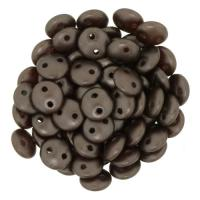 Lentil Beads 2-Hole 6mm - Pearl Coat Dark Brown 50pcs