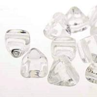 Czech Glass 2-Hole Pyramid Stud Beads 6mm - Crystal (25)