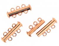 Slide Lock Clasps 3-strand Copper Plated 21mm. Pack of 5