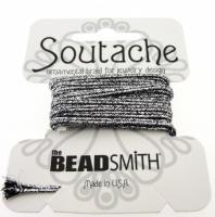 Beadsmith Soutache Braided Cord / Trim 3mm Silver/Black 3 Yards