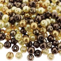 Mixed Luster Glass Pearls Round 6mm - Caramel Mix (300 pcs)