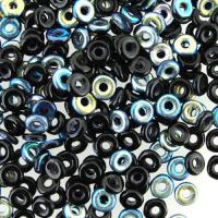 Czech O-Beads 3.8 mm x 1 mm Jet Black AB 8.1g