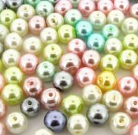 Mixed Luster Glass Pearls Round 8mm Pastel Mix. Pack of 100