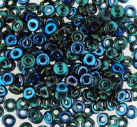 Czech O-Beads 3.8 mm x 1 mm Emerald Azuro 8.1g