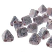Czech Glass 2-Hole Pyramid Stud Beads 6mm - Wt Teracotta Cpr(25)