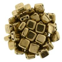 Tile Beads 6mm Square 2-Hole - Bronze (25)