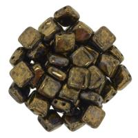Tile Beads 6mm Square 2-Hole - Picasso Jet Bronze (25)